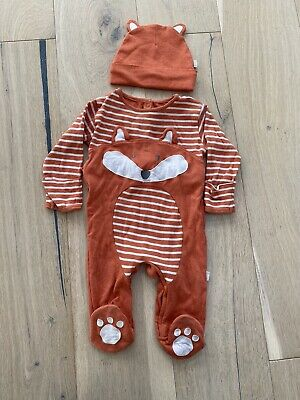 Jojo Maman Bebe Fox Babygrow And Hat 6-9 Mths VGC