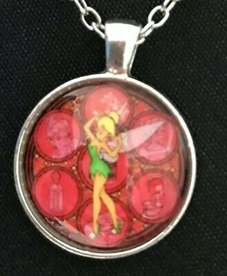FREE GIFT BAG Disney Tinkerbell Fairy Necklace Chain Peter Pan Silver Crystal