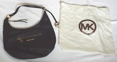 Vgc Michael Kors Black Leather Shoulder Medium / Large Tote Round Weekend Bag