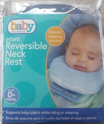 Baby Infant Neck Pillow Head Support for Riding or Sleeping-Reversible-Blue