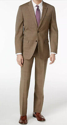 Tommy Hilfiger Slim-fit TH Flex stretch Light Brown Pindot Suit. 40R. With Tags