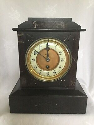 Antique Slate and Marble Black Mantel Clock French? B W Face & Co Oxford Street
