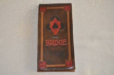 Bridge score card holder, decorated leather, arts and crafts