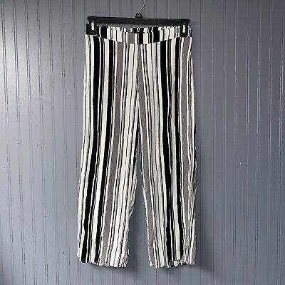 Womens Kendall And Kylie White Black Stripe Paperbag Waist Pants Size Medium