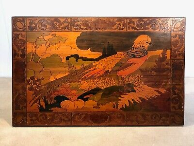 Large Antique Arts & Crafts Pokerwork of a Pheasant