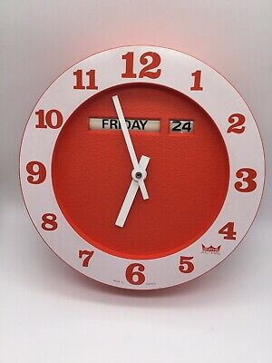 RETRO VINTAGE SMITHS ASTRAL DAY & DATE WALL CLOCK 1960's ~ ORANGE FACE VGC