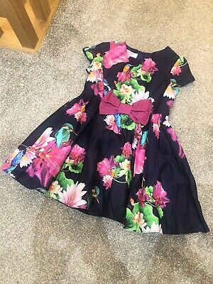 Ted Baker Girls Pink Blue Party Dress With Flowers Dress Age 2-3 Years