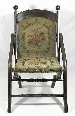 Victorian Mahogany FOLDING CHILD'S ARM CHAIR. Orig Tapestry Carpet Upholstery