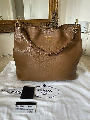 100 % AUTHENTIC Prada Brown Vitello Daino Leather Shoulder Handbag RRP £1,100