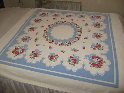 """Vintage Cotton Tablelcoth Strawberries 49"""" x 53"""""""