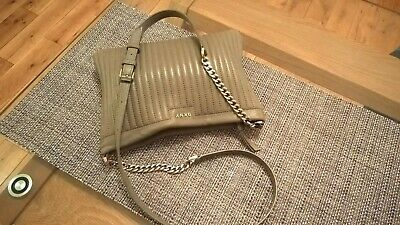 DKNY soft lamb leather quilted cross body, chain shoulder bag, beige-light grey