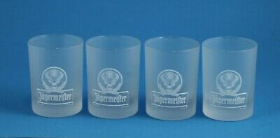 """Lot of 4 Frosted Jagermeister 2 cl ra Shot glasses 2.25"""" tall"""