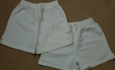 Marks And Spencer 2 Pack Of White PE Shorts Age 6 Unisex