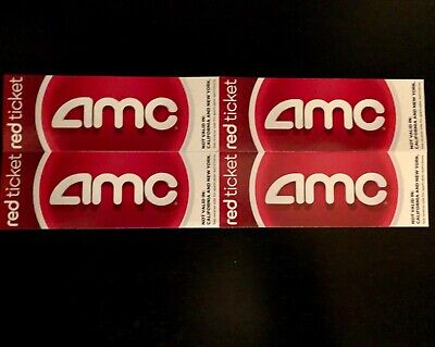 AMC Theatres Red Tickets - Lot of 4 tickets (no expiration), FREE SHIPPING
