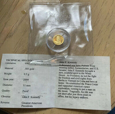 AMERICAN MINT WORLDS SMALLEST GOLD COIN .5 G 14K SOLID John F. Kennedy COA
