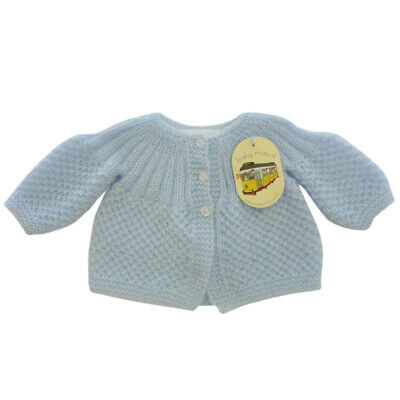 Maiorista Hand Knitted Blue Newborn Baby Jacket Made in Portugal