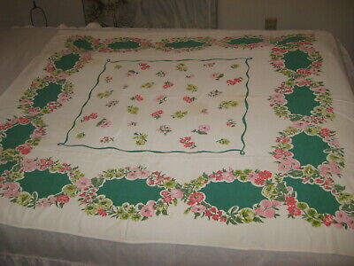 """Vintage Cotton Tablecloth Floral Print Pink, Yellow and Red Blossoms 52"""" x 45"""""""