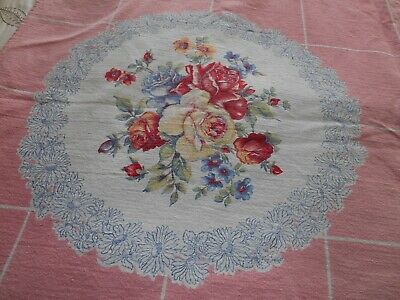 """Vintage Pink & Roses Tablecloth Cotton 45"""" x 45"""" Would Be Great Cutter"""