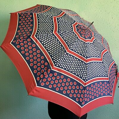 Vintage Womens Umbrella Handle Made In Italy  Red Blue White Polka Dots