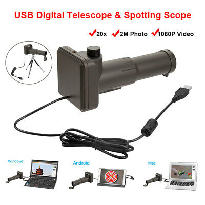 Zoom 20x Digital Telescope Scope Video USB Monocular Compatible with Android Win