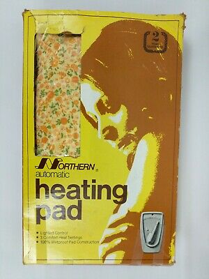 NORTHERN VTG 70s HEATING PAD Lighted Control 3 Settings Orange Yellow Floral Box