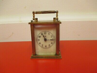 Antique WATERBERRY Miniature Carriage Clock - Brass and Beveled Glass