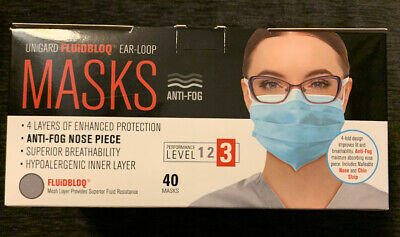 Surgical Face Mask LEVEL 3 Medical Ear Loop 40ct Masks FAST FREE SHIPPING!