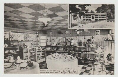 Michigan Houghton Lake, MI Treasure Chest Gift Shop on M-55 Vintage Postcard