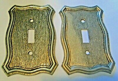 2 Vintage 1968 American Track & Hdwe Co #70T Metal Light Switch Plate Cover