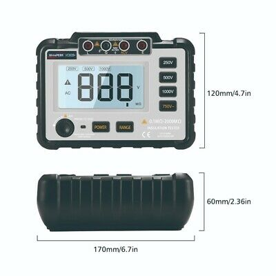 Digital Mini Insulation Resistance Tester Megohmmeter Multimeter Lightweight LCD