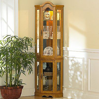 Curio Cabinet Corner Lighted New Mirrored Back Space Saver Golden Oak 5 Shelves
