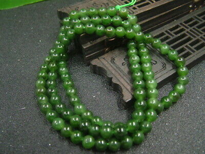 Antique Chinese Nephrite Hetian old green jade 6mm Beads Necklace Pendant