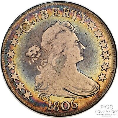 Toned 1806 Draped Bust Half Dollar .50c Pointed 6 Stem Claw E over A O-115 9678