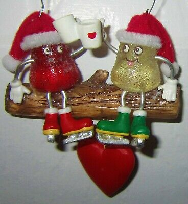 Kurt Adler Another Christmas Together Gum Drops Duo Sitting On Log Ornament