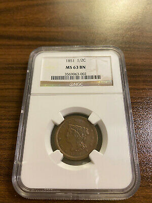1851-P Braided Hair Half Cent 1/2C NGC MS 63 Brown (BN) RARE HIGH GRADE