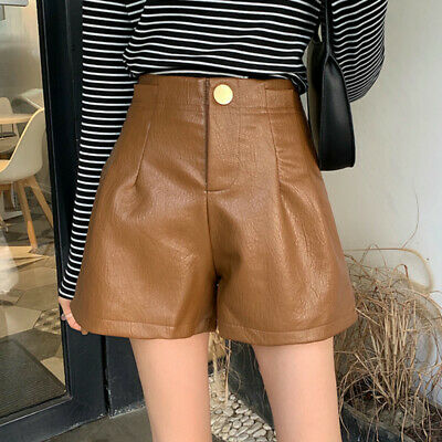 Women Faux Leather Shorts Pleated Wide Legs High Waist Short Pants Trousers Sexy