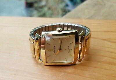 Ladies Vintage Hamilton Square Face 10K Gold Filled Watch