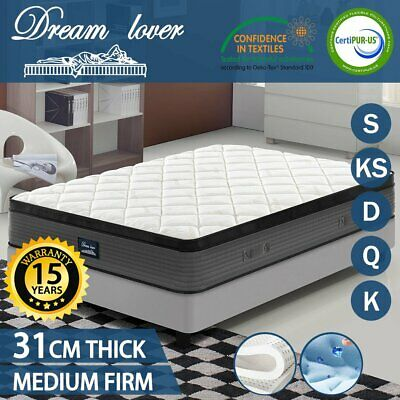 Queen King Single Double Mattress Size - Cool GEL Memory Latex - Pocket Spring
