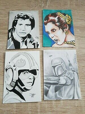 Star Wars Sketch Cards Various Artists Lot ( 4 Cards )