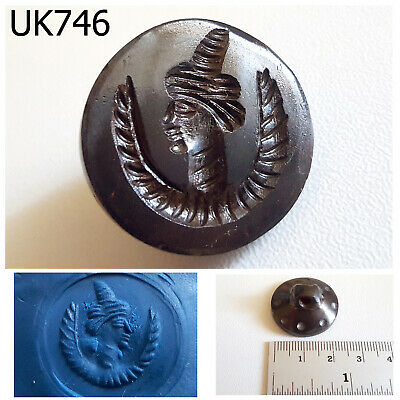 Ancient Near Eastern Greek Roman Face Wing Carving Garnet stone Stamp #UK746a