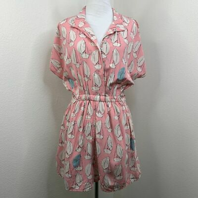Maeve Anthropologie Tourista Pink Sail Boat Tie Waist Casual Romper Women Size 6