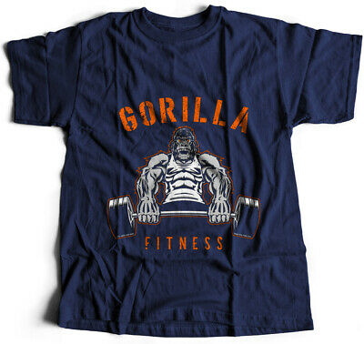 Gorilla Fitness Gym T-Shirt Dumbbell Weights Training Work Hard Gym Fitness P429