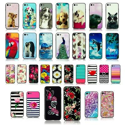 NEW Prints Glass Back Cover Case Apple iPhone 7 Pug Panda Puppy Flamingo Dog**