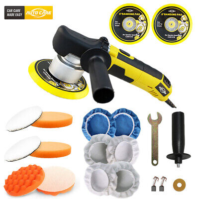 "6"" Dual Action Orbital Car Polisher Polishing Machine Buffer Waxer w/ Pads Kit"