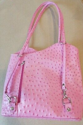 Italian Leather Handbag / Backpack / Shoulder Bag Ostrich Print Pink