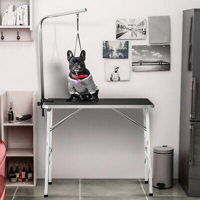 """36"""" Steel Legs Foldable Nylon Clamp Adjustable Arm Rubber Mat Pet Grooming Table"""