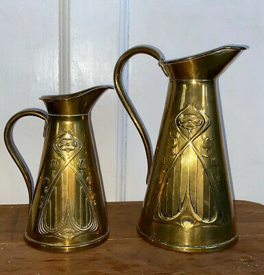 c1910 English Art Nouveau solid brass Pair Of Jugs made by Joseph Sankey & Sons