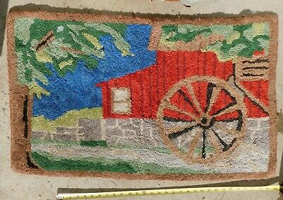 Antique folk art hooked rug water wheel grist mill brook ca. 1920 hand stitched