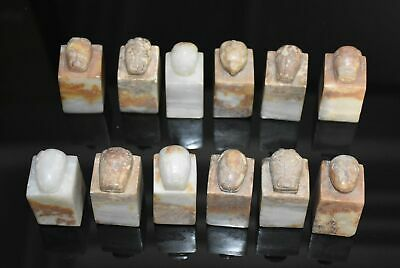 12 Rare Chinese Han Dy Old Jade Carved 12 Animal Design Seal Figure
