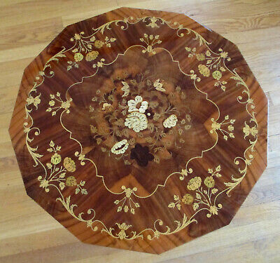 Italy Italian Inlaid Inlay Marquetry Wood Musical Jewelry Music Box Table & Key